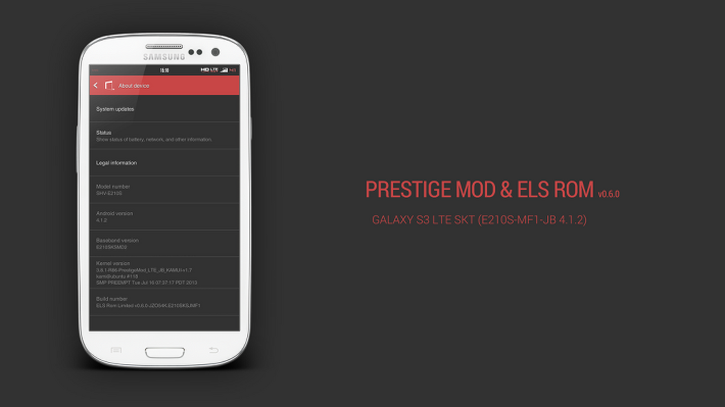 Prestige Mod & ELS Rom Limited v0.6.0 for GALAXY S3 LTE SKT (E210S-MF1-JB 4.1.2)
