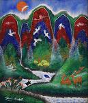 건강과 장수를 염원하는 마음, 장생도(長生圖) 민화풍 오방색 사계도