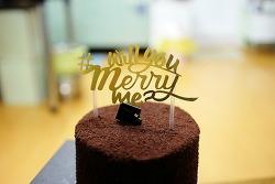 선물 받은 투썸플레이스 케이크 ( 벨지안 멜팅 가나슈 케이크 )