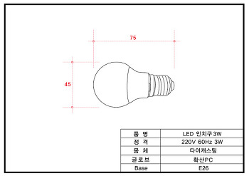LED 인치구 백색/적색/청색/녹색 제품사양 및 단가표