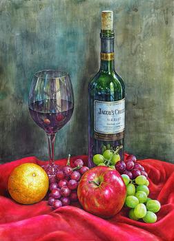 [정물수채화/과정작]와인잔, 양주병, 오렌지, 포도, 사과, 붉은 천