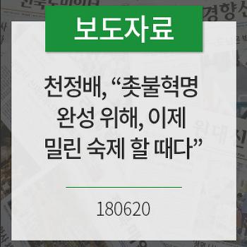 """[보도자료]천정배, 민주당에 '개혁입법연대' 제안…""""촛불혁명 완성 위해, 이제 밀린 숙제 할 때다"""""""