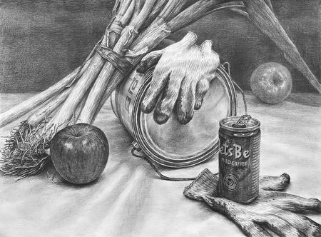 [정물소묘/과정작]페인트통, 대파묶음, 레쓰비켄, 사과, 목장갑