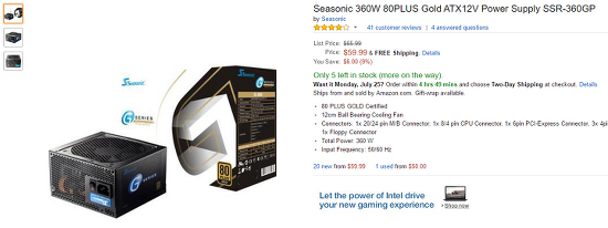 [Amazon.com] Seasonic 360W 80PLUS GOLD 파워 서플라이 ($59.99 / $15.04)