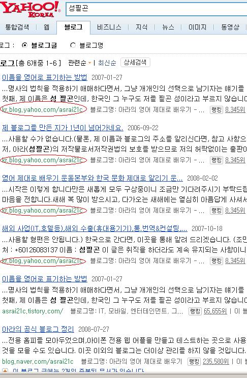 야후 블로그 검색에서 본명인 '성필곤' 검색시 결과