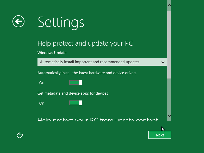 설치 직후, 기본적인 설정들을 정하는 메뉴도 메트로 UI의 직관적인 인터페이스로 바뀌었다.