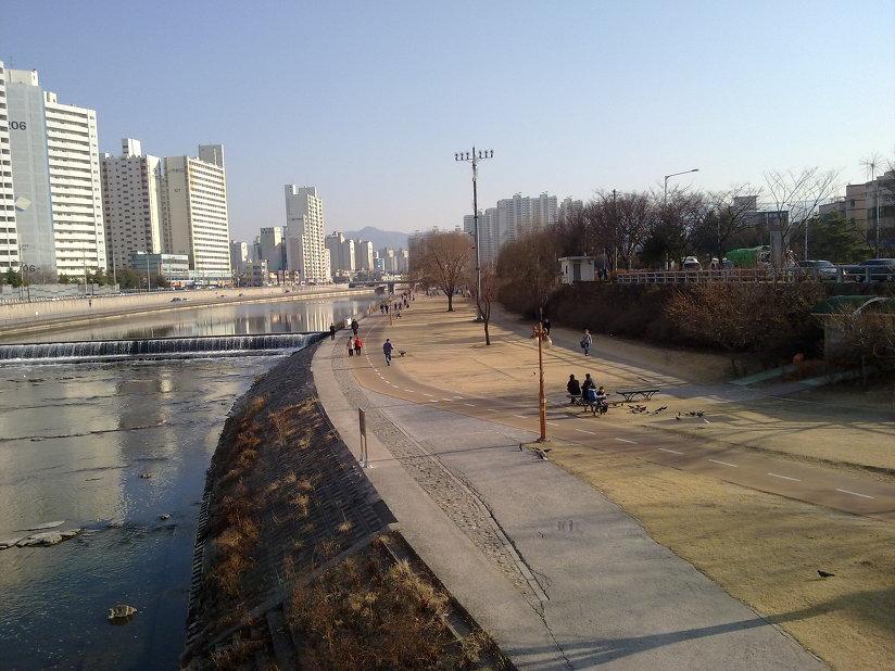 2월 말 신천교에서 바라본 신천둔치의 모습