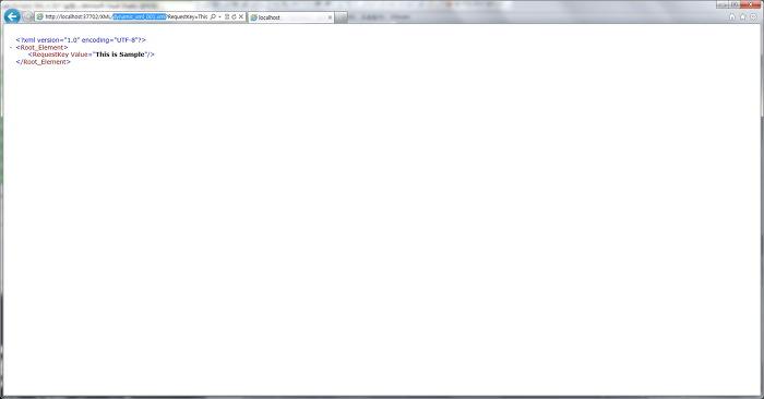 XML 확장자 뒤에 쿼리스트링을 통해 값을 출력하는 모습을 담은 스크린샷