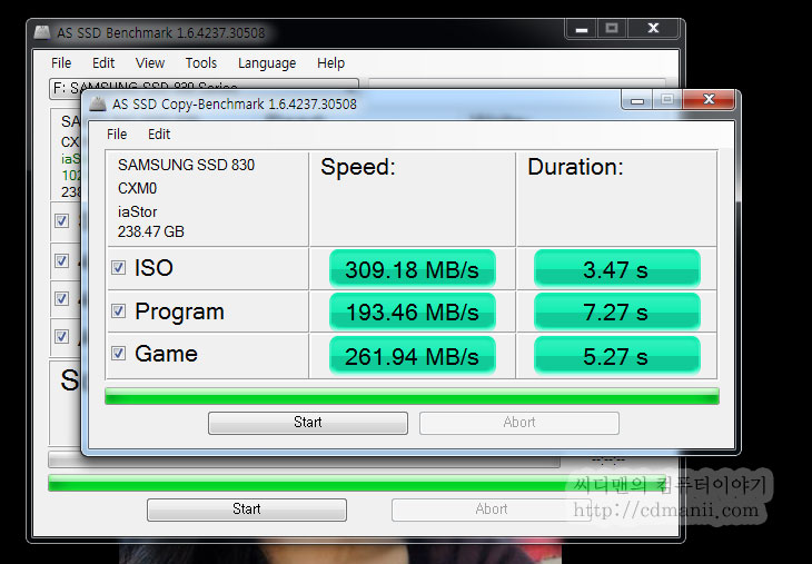 as ssd benchmark v1.6, 다운로드, download, ssd 벤치마크 프로그램, IT, 프로그램 다운로드, 삼성 SSD 830 Series 256GB, 삼성 SSD, 삼성 SSD 256GB, 128GB,as ssd benchmark v1.6을 다운로드 후 SSD 벤치마크를 해 보았습니다. 예전에 이미 인텔 SSD 320 Series 를 노트북에 사용하고 있었고 데스크탑에 사용할 목적으로 삼성 830 Series 256GB를 구매했습니다. 인텔 510 Series 랑 엄청 고민을 했는데 가격도 그렇고 읽기 성능 때문에 이것을 선택했네요. as ssd benchmark를 돌려보니 뒤에 스펙표 만큼의 성능이 나와주는군요. HD tune 이나 크리스탈 디스크 마크와 같은 벤치마크 프로그램도 있지만 좀 더 실생활에 근접하는 벤치를 이 프로그램이 보여주기 때문에 많이 이용이 됩니다.
