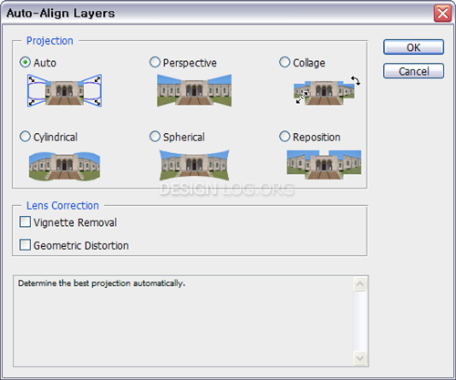 Auto-Align layers... 옵션 창