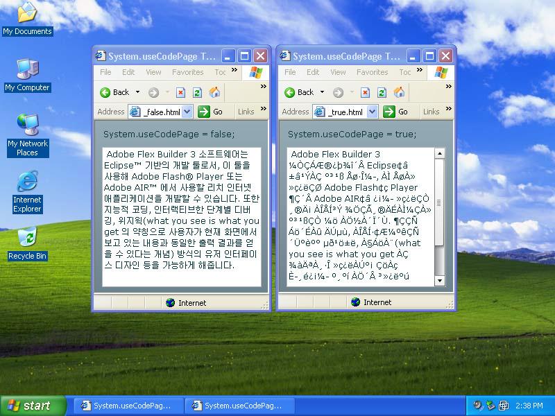 Windows XP 영문판에서 swf 로드