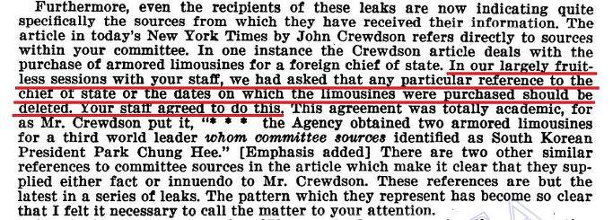 안치용,'박정희 대미로비 X파일'출판 : 미국의 청와대도청은 실재- 박정희 방탄차 알고보니 CIA가 제공 - 1976년 1월 27일자, 하원정보위원회에 박정희 방탄차 CIA 제공을 항의하는 CIA 서한