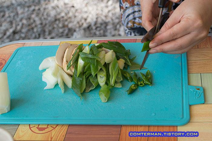 버섯 파 양파 청양고추