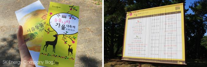 서울동물원 동물나라 가을대축제 브로셔와 현수막입니다.