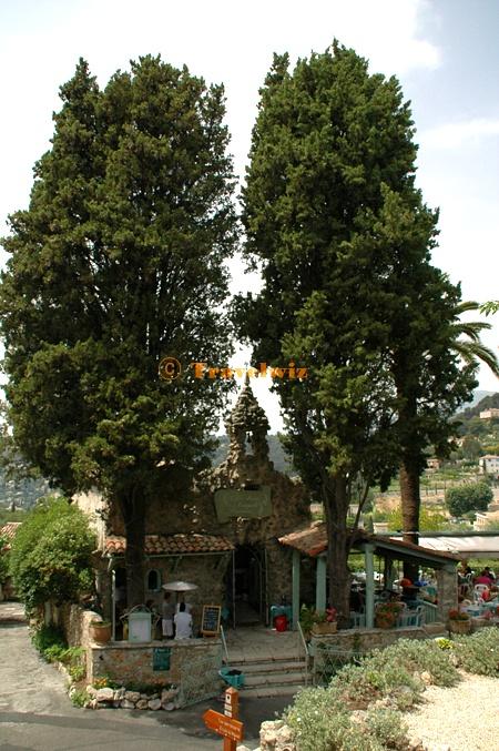 사이프러스나무가 인상적인 마을 입구의 레스토랑