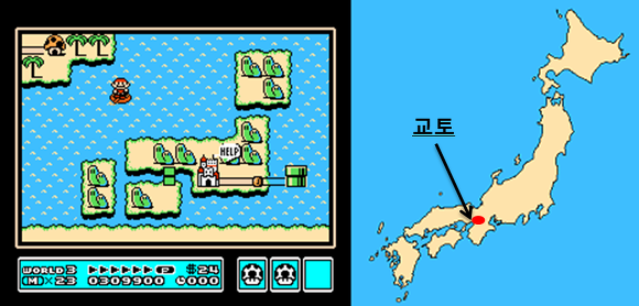 슈퍼마리오3 일본지도, super mario japan map
