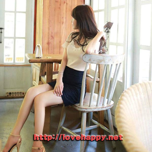 여성패션 티셔츠 넥라인 플라워 레이스 002