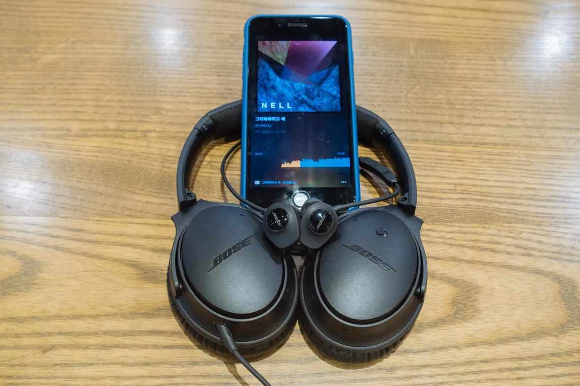 보스 QC25 + 사운드스포츠 와이어리스 + VOX 앱