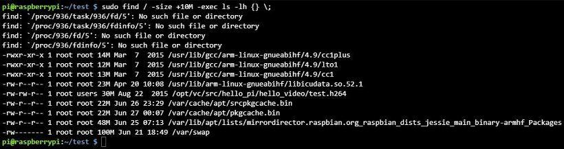 리눅스 find 명령어 size 옵션 사용법