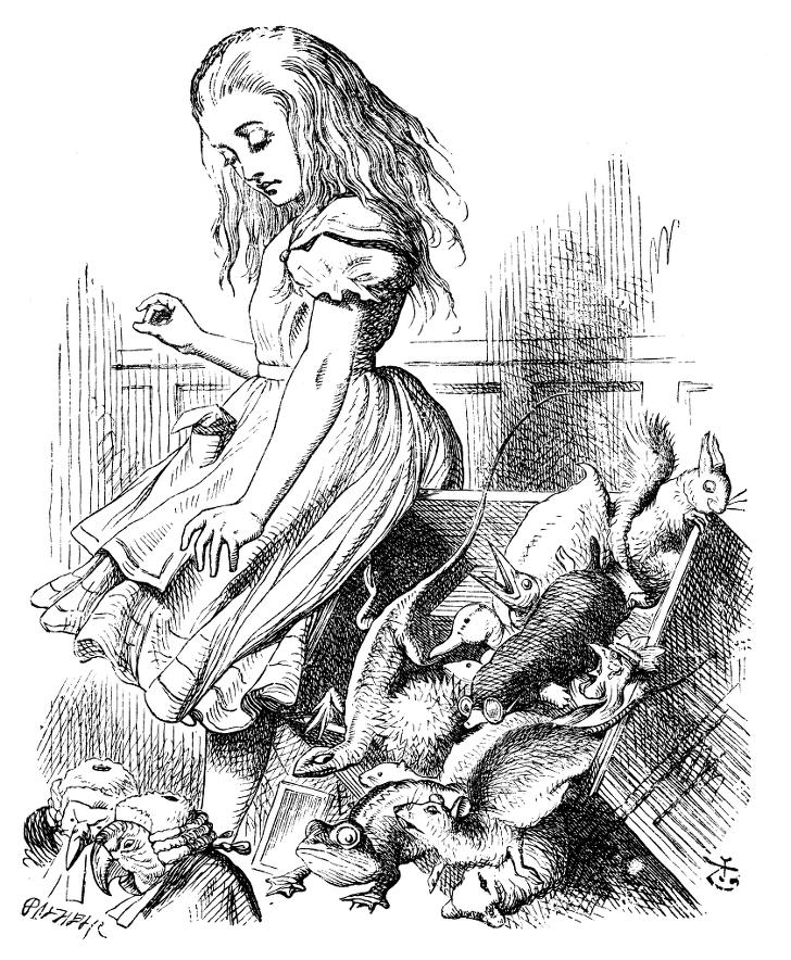 이상한 나라의 앨리스의 앨리스가 많은 동물들 옆에 비스듬히 기대어 앉아 있는 흑백 그림