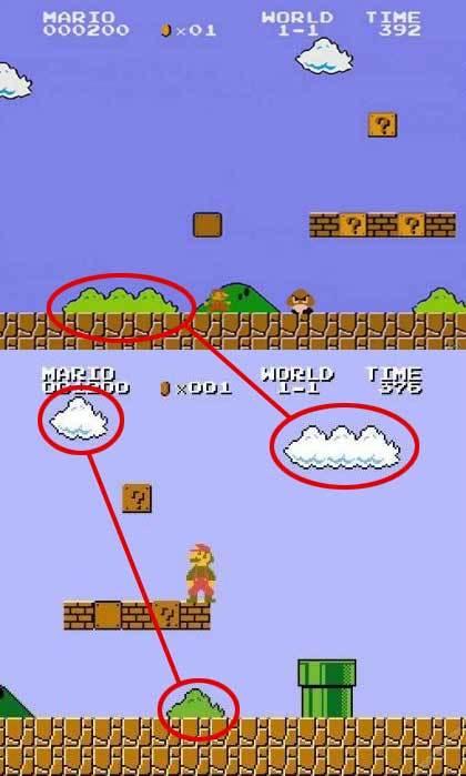 마리오 구름과 풀숲, Mario cloud and Brushes