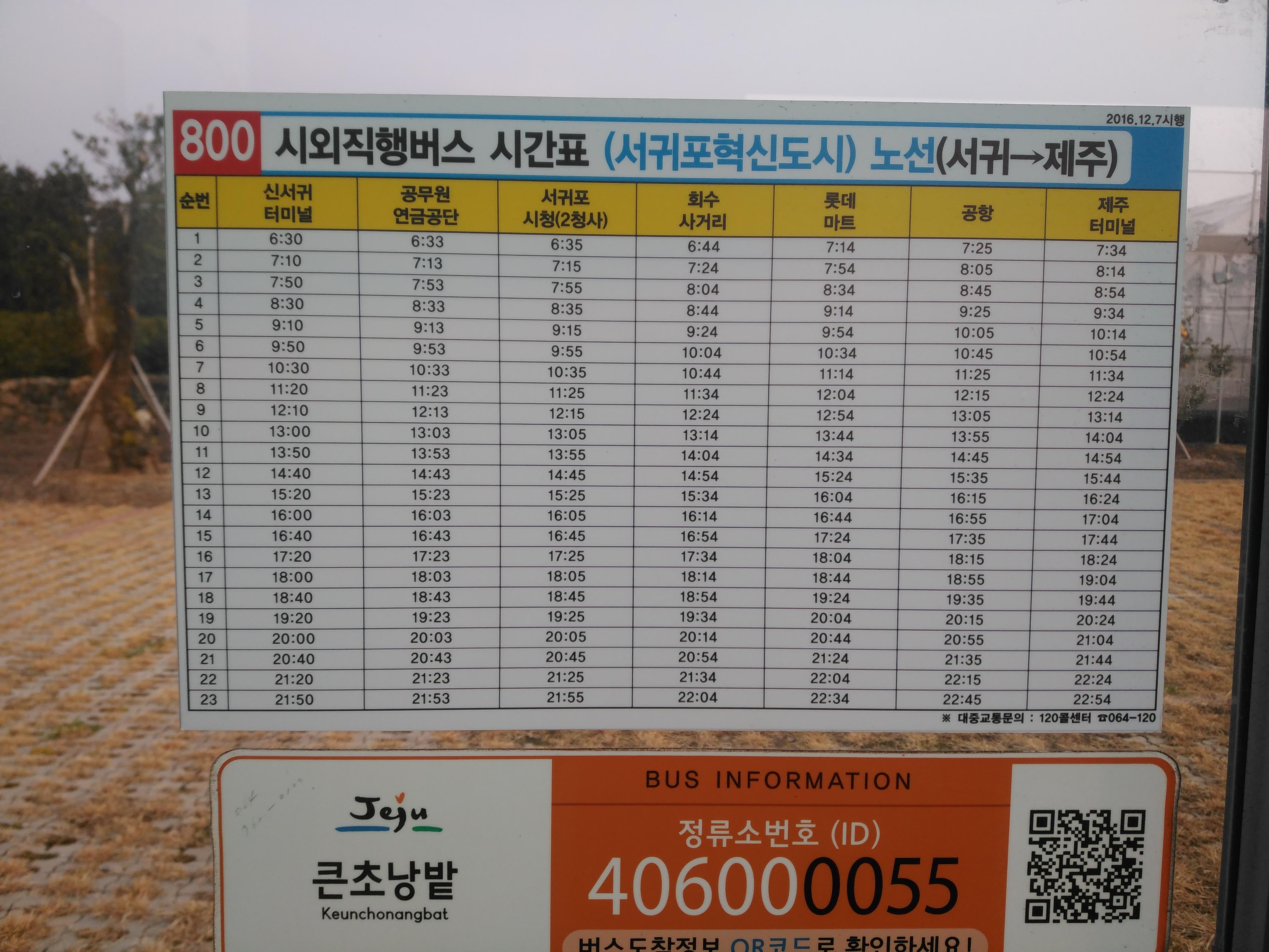 800번 시외직행버스 시간표