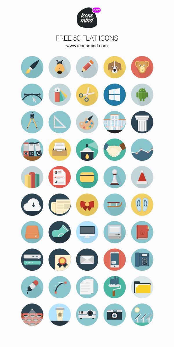 50 가지 플랫 컬러 벡터 아이콘 - 50 Free Vector Flat Color Icons