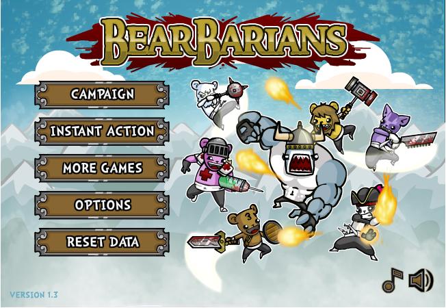 [액션 플레시게임] Bearbarians 곰 VS 팬더 플래시게임