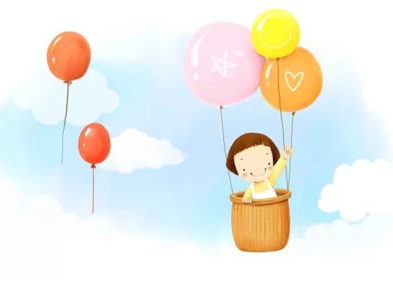 뜨거운 공기 풍선 손으로 그린 PSD 배경 소녀