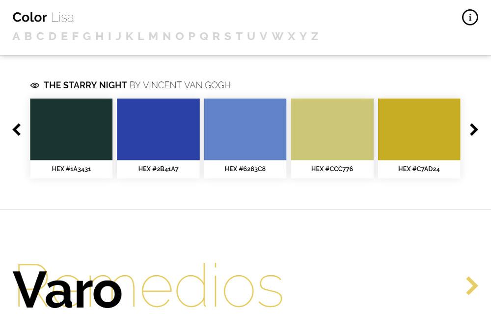 유명 화가들의 예술작품에서 추출하는 어울리는 색조합 사이트 Color Lisa_vincent van gogh_빈센트 반 고흐_헥스값_hex