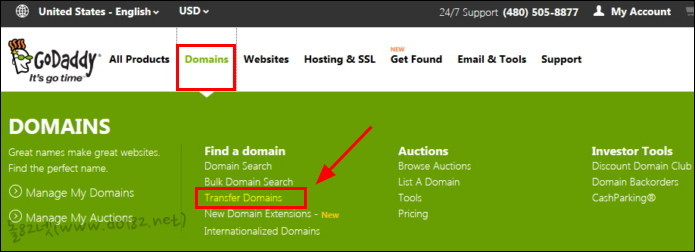 [Domains]-[Transfer Domains]