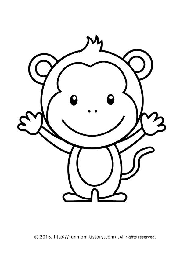 동물색칠공부 프린트 학습지 Monkey Coloring Page