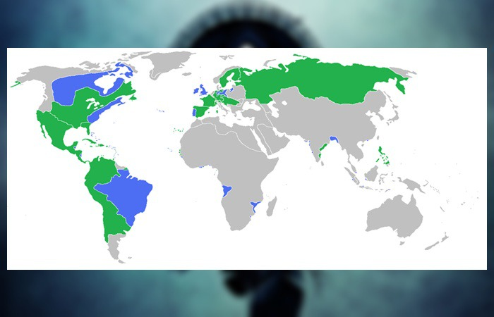 사진: 7년 전쟁 두 진영. 결과적으로 파란색의 영국-프로이센 세력이 승리는 거두고 북아메리카와 인도에서의 영국의 영향력은 극대화되었다. 미국에서의 프랑스 철수에 결정적인 역사다. [7년 전쟁의 과정과 원작 소설 배경]