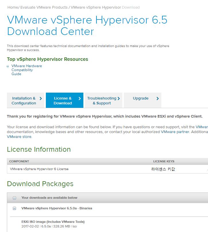 VMware vSphere Hypervisor 6.5 무료 라이센스