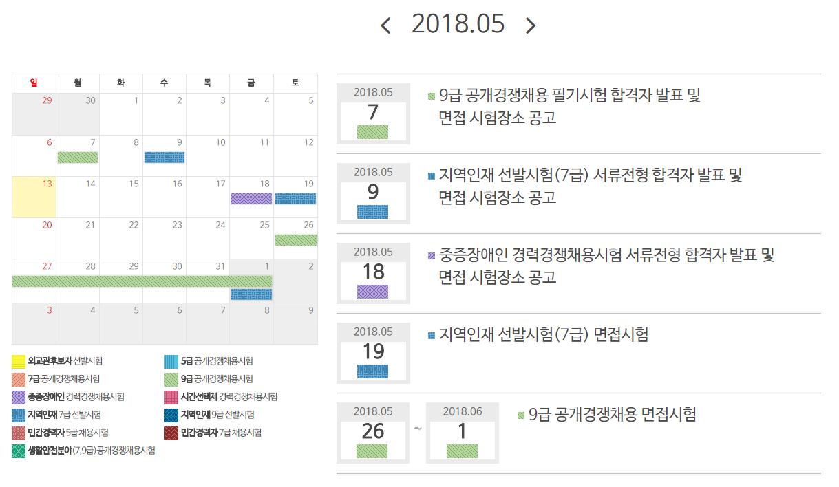 2018년도 국가공무원 5월 일정