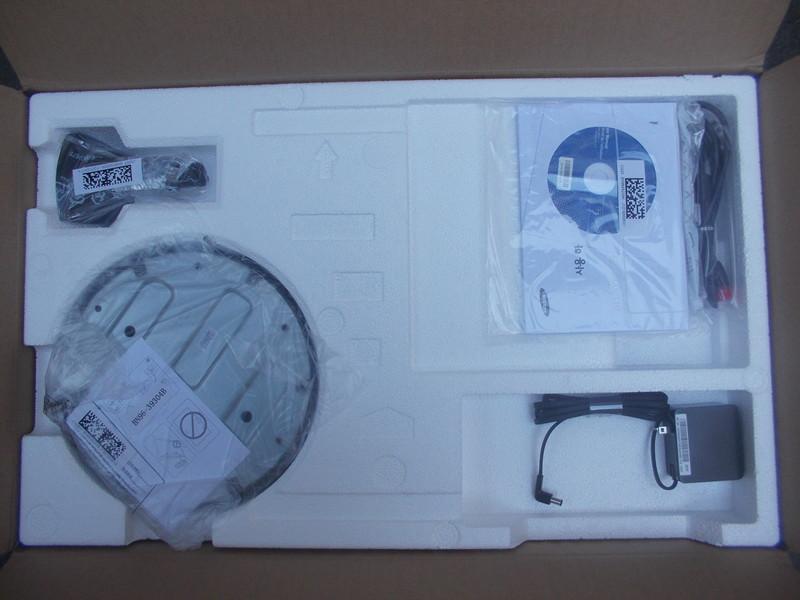 박스 개봉 후 S27F350 제품 구성품 배치 모습
