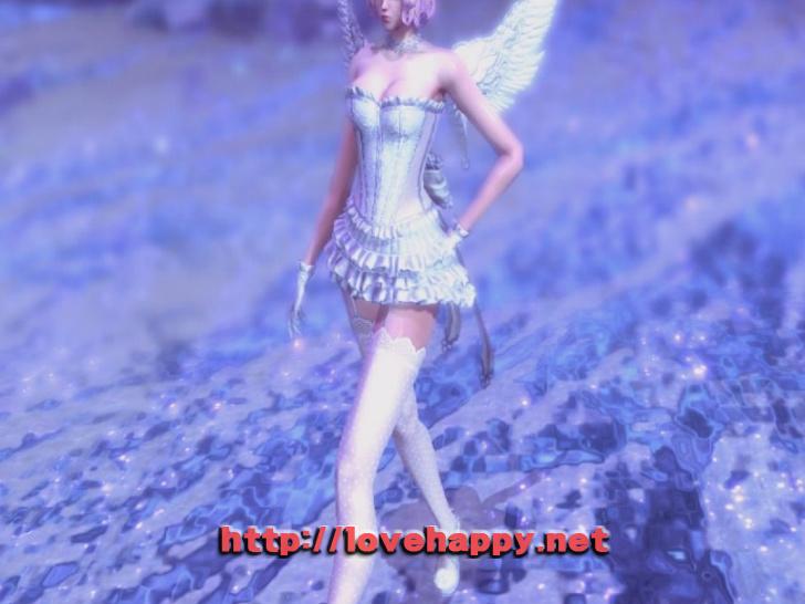 블레이드앤소울 의상 - 란제리와 드레스 조합 화이트 엔젤. 드레스 의상 002