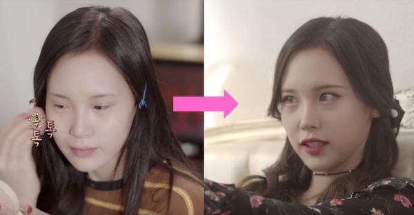 유튜버 레나의 화장 전후 비교 사진