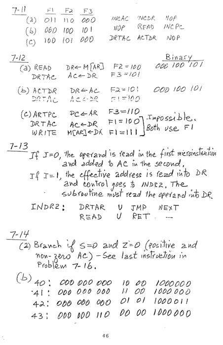 컴퓨터구조 연습문제, 모리스 마노 챕터7 46