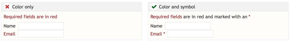 red 문자를 보지 못하는 사람들에게 극도로 답답한 경험을 줄 수 있으므로, red나 green 칼라만 사용한 정보전달은 피하라
