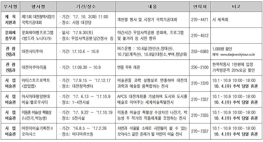 2017 추선연휴 대전행사 모음