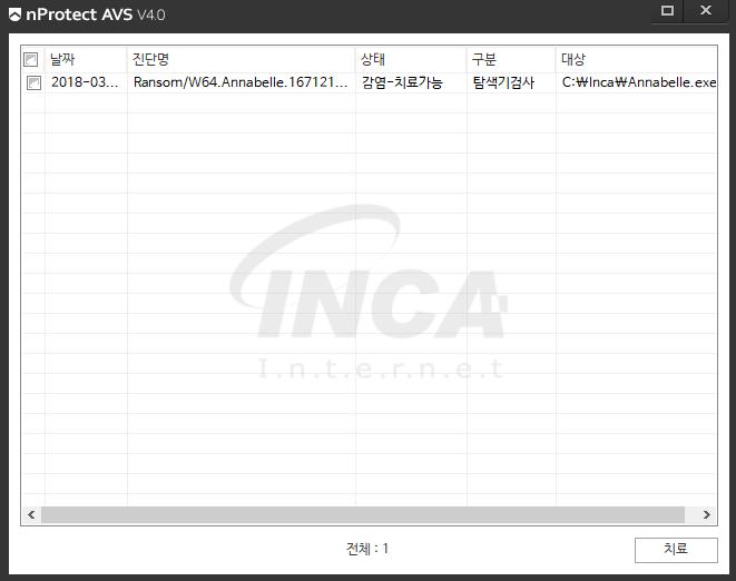 [그림 10] nProtect Anti-Virus/Spyware V4.0 진단 및 치료 화면