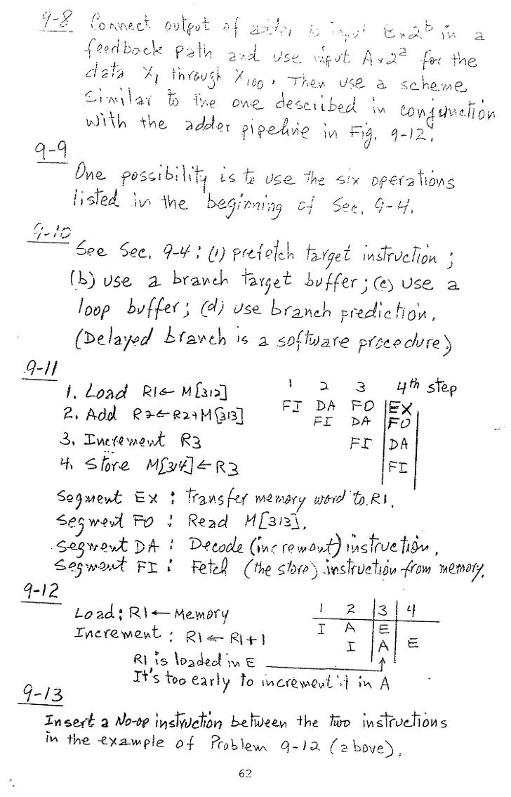 컴퓨터구조 연습문제, 모리스 마노 챕터9 62