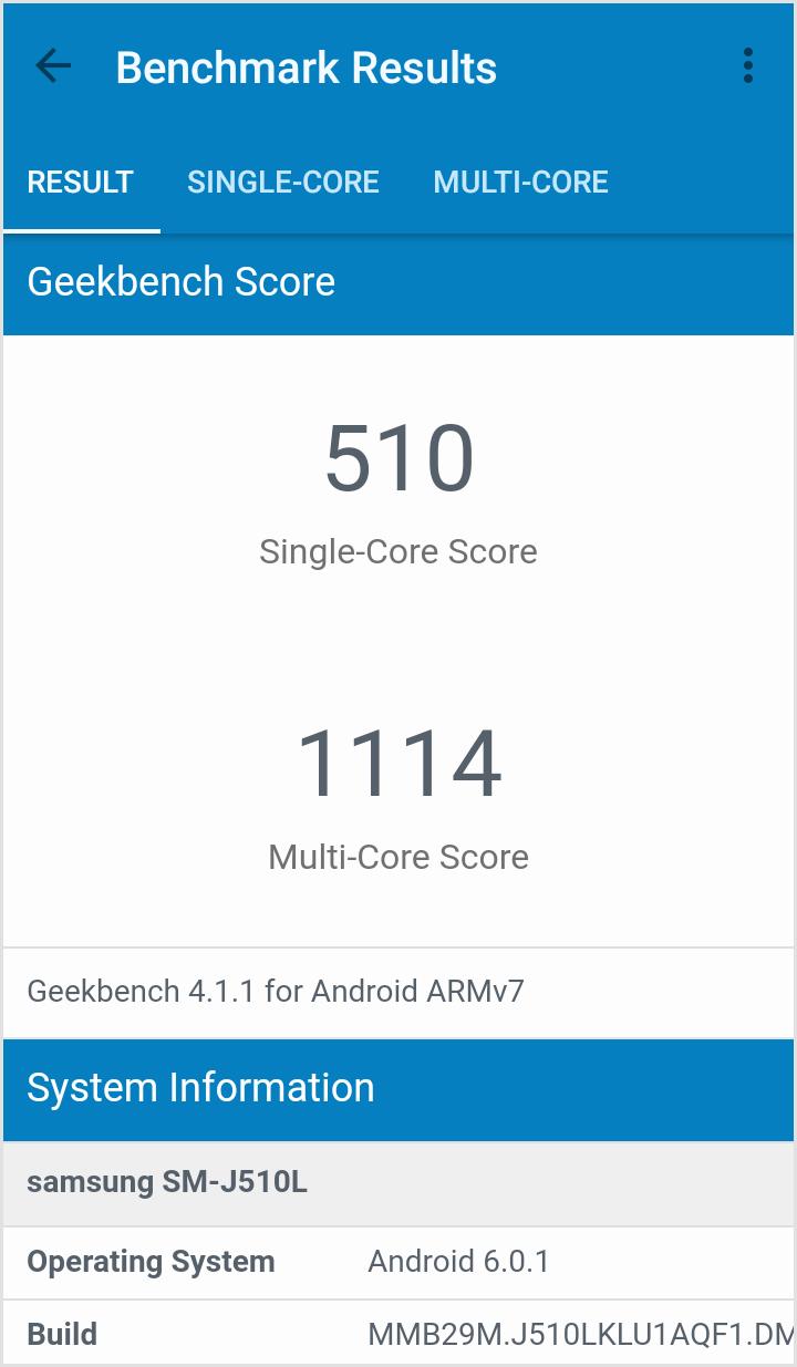 갤럭시 J5 2016 GeekBench 점수